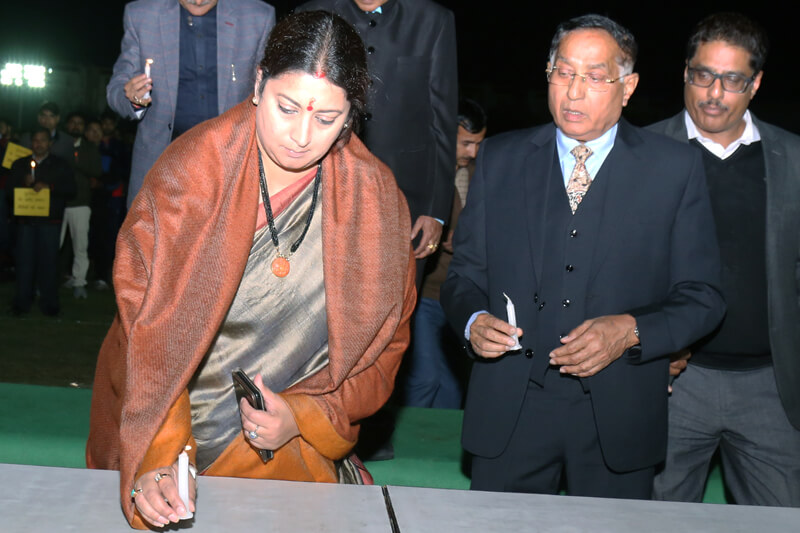 Shri Smriti Zubin Irani with Suresh Jain at TMU